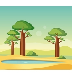 Oasis With Baobabs vector