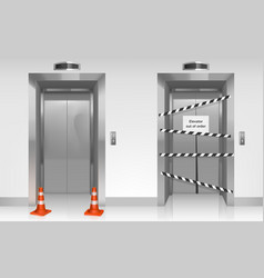 out order elevator with closed broken door vector image