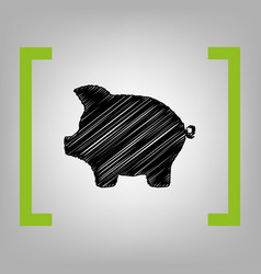 pig money bank sign black scribble icon vector image