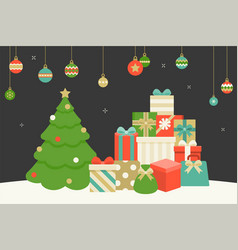 Pile of present boxes and christmas tree vector