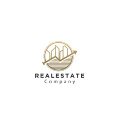 Real estate logo with modern skyscrapers vector