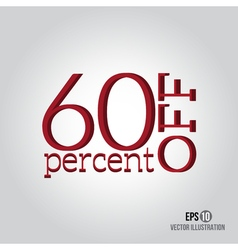 Red 60 sale Price off icon with 60 percent vector
