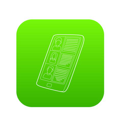 resumes on the tablet screen icon green vector image