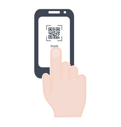 Scan qr code to mobile phone hand with phone vector