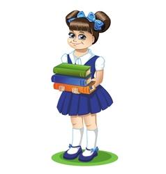 Schoolgirl with books vector