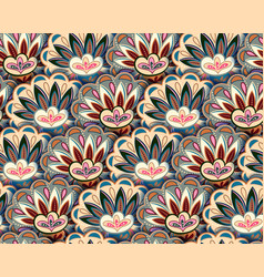 Seamless ethnic pattern with floral motives beige vector