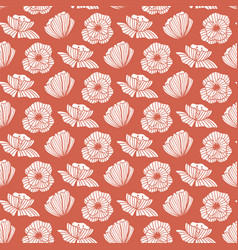 seamless pattern with poppy flower floral vector image