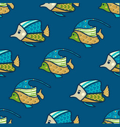 seamless underwater fish pattern vector image