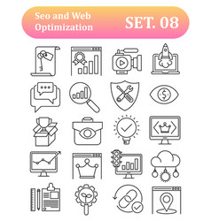 Seo and web optimization outline icons vector