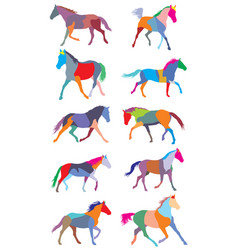 Set of colorful trotting horses silhouettes vector