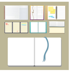set of open realistic notebooks with pages diary vector image