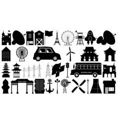 set silhouette element vector image