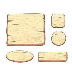 set with cartoon wooden buttons for game assets vector image