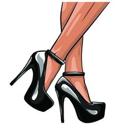 Sexy legs with black high heels vector