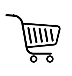 Shopping trolley cart black line flat icon vector