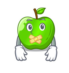 Silent green smith apple isolated on cartoon vector