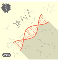 Simple DNA icon on yellow background vector image
