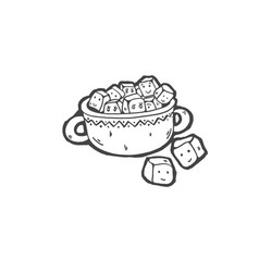 sketch drawing cartoon doodle sugar bowl vector image