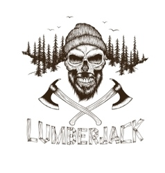 Skull-lumberjack with two axes vector