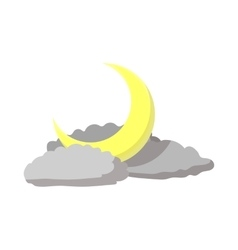 Sky with a moon and clouds icon cartoon style vector