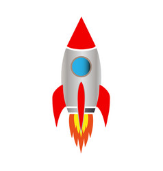 space rocket on white background vector image