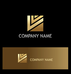Square shape letter v gold logo vector