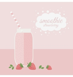 Strawberry smoothie in jar on a table vector image