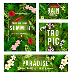 summer tropical banner with exotic floral frame vector image