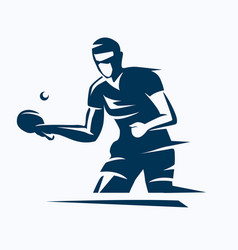 table tennis player stylized silhouette ping vector image