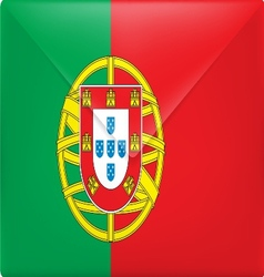 the portugal flag on mail envelope vector image