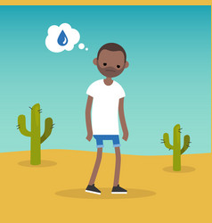 Thirsty black man dreaming about water flat vector