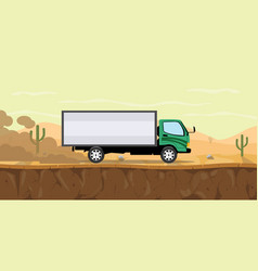 Truck running on the road on desert with cactus vector