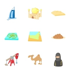 Uae country icons set cartoon style vector