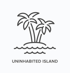 uninhabited island flat line icon outline vector image