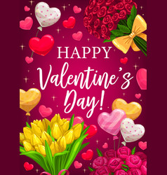 valentines day red flowers and heart balloons vector image