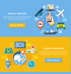 vehicle tracking navigation banners vector image