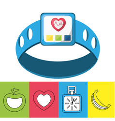 weight and smartwatch to meter rhythm cardiac vector image