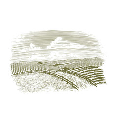 Woodcut countryside road vector