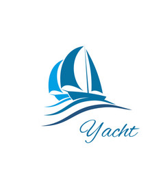 Yacht boat wave icon for sport sail travel club vector