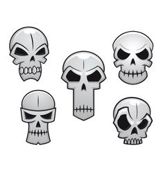 Cartoon skulls set with danger emotions vector image vector image