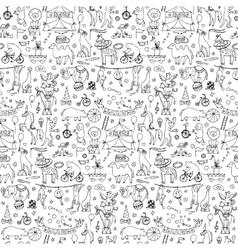 Hand drawn circus seamless pattern vector image vector image