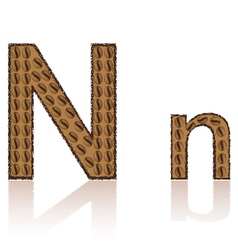 letter n is made grains of coffee isolated on whit vector image vector image