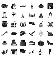 red wine icons set simple style vector image