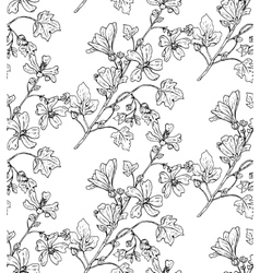 seamless pattern with hand drawn plants vector image