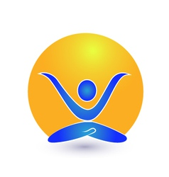 Yoga and sun logo vector image vector image