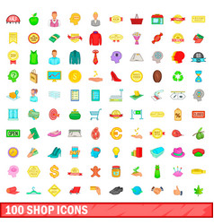 100 shop icons set cartoon style vector image vector image