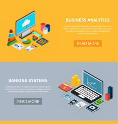 data isometric banners set vector image vector image