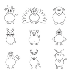 farm animals simple outline icons set eps10 vector image vector image