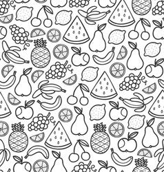 Fruits doodle pattern in black vector image vector image