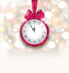 New Year Midnight Sparkling Background with Clock vector image vector image